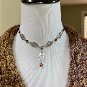 Cookie lee silver and amber stone y necklace